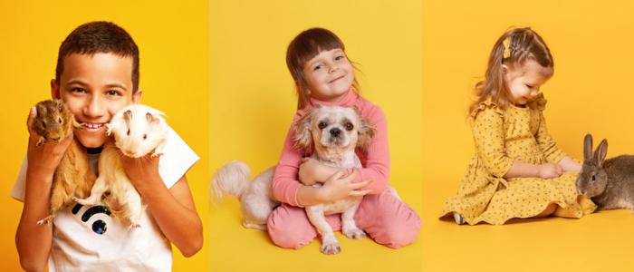 enfants aves différents animaux de compagnie : lapin, cochon d'inde, chien