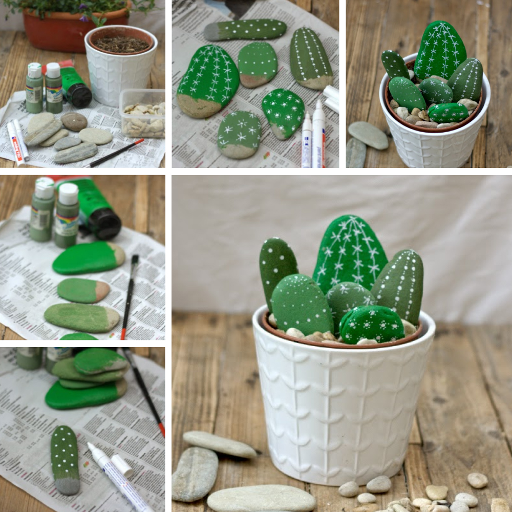 tuto diy faire des cactus avec des galets. Black Bedroom Furniture Sets. Home Design Ideas