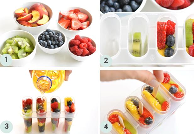 Glaces à l'eau aux fruits frais