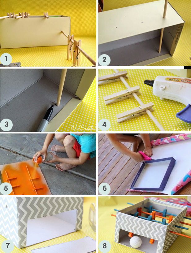 diy fabriquez un mini baby foot en carton berceau magique. Black Bedroom Furniture Sets. Home Design Ideas