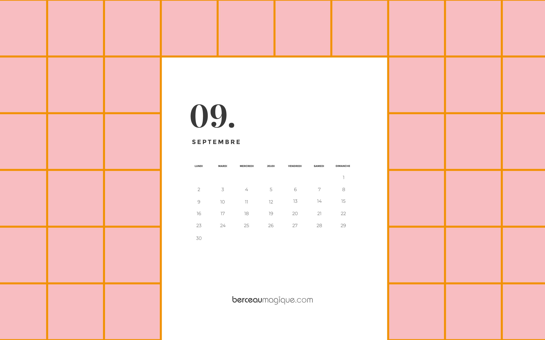 Calendrier Mois De Septembre.Free Printable Calendrier De Septembre 2019 Berceau Magique