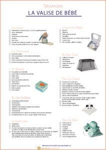 Printable checklist vacances bébé