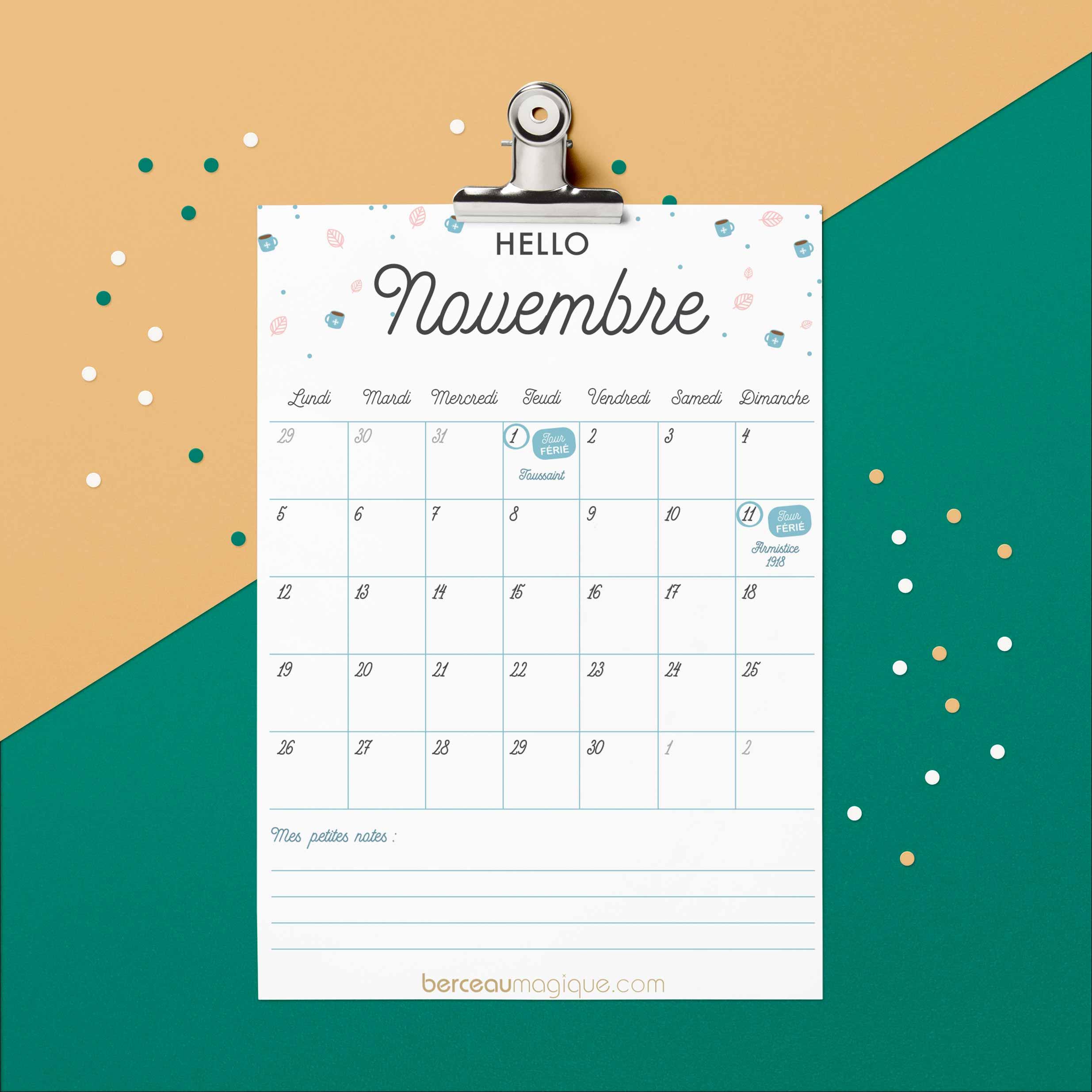 Printable calendrier novembre 2018
