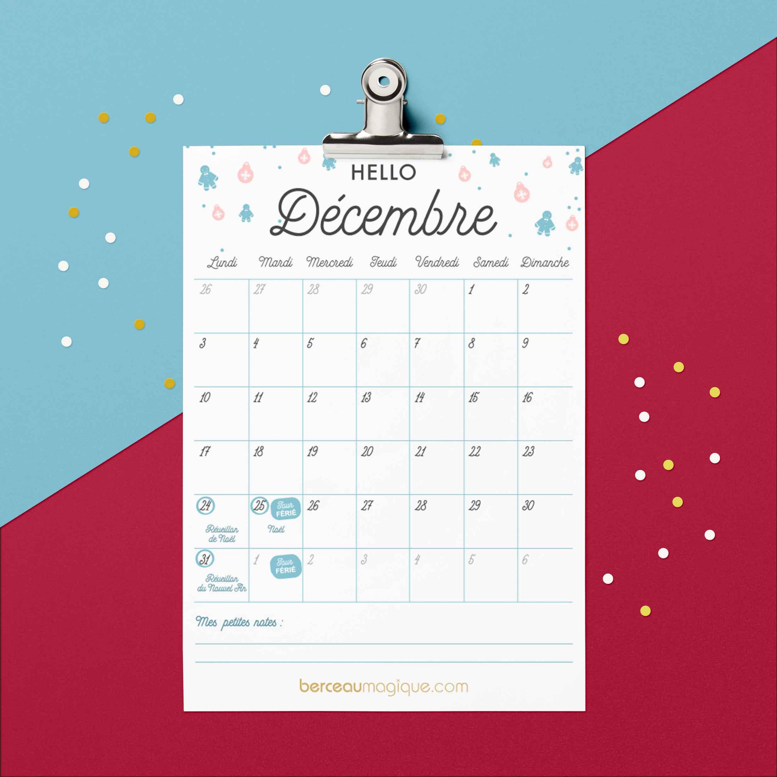 Printable calendrier Décembre 2018