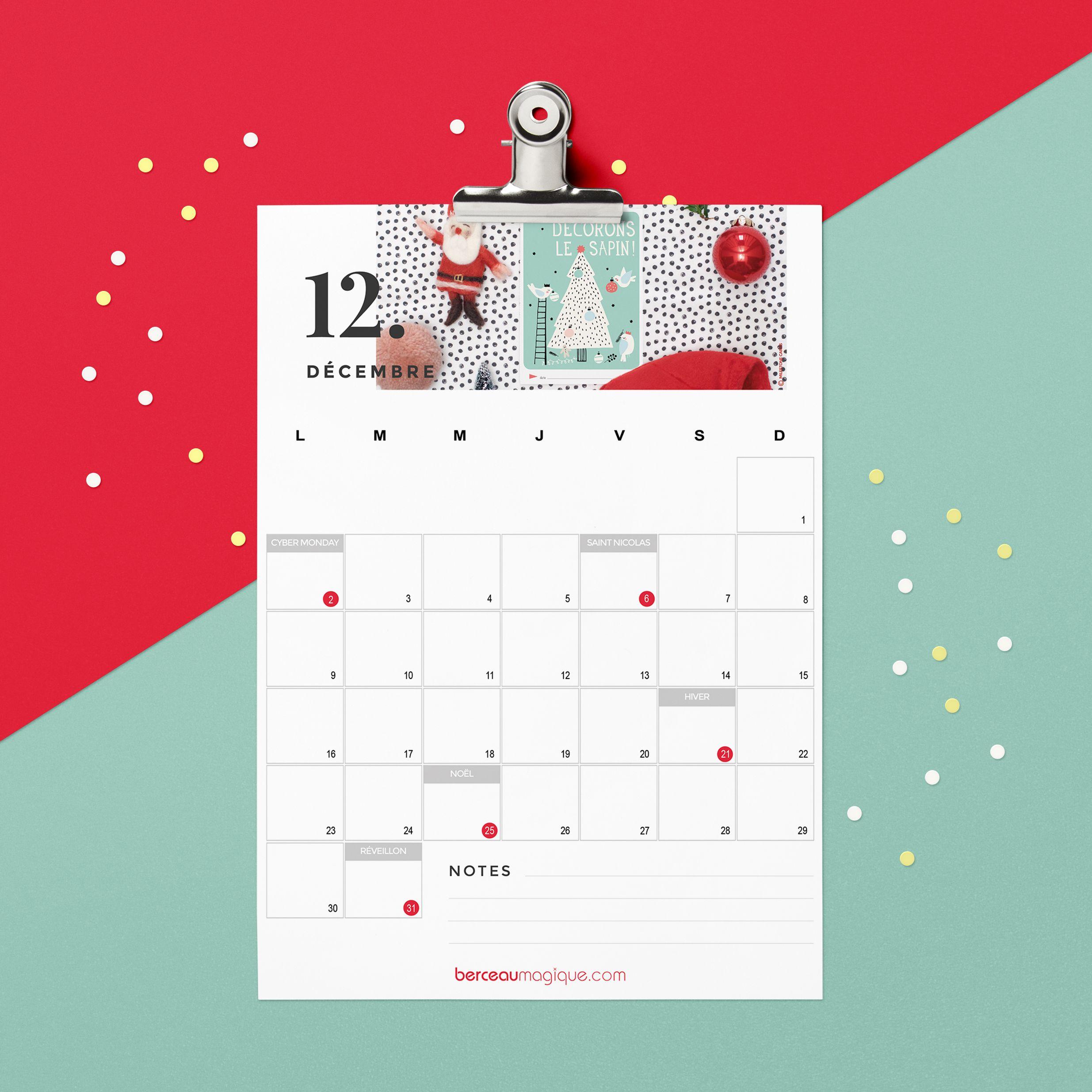 Printable calendrier Décembre 2019